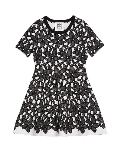 Floral-Mesh Jacquard Short-Sleeve Dress  Size 4-6 and Matching Items