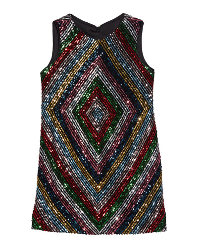 Girl's Rainbow Stripe Sequin Mitered Dress  Size 4-6  and Matching Items
