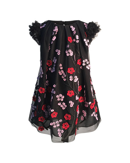 Girl's Floral Embroidered Tulle Dress, Size 2-6