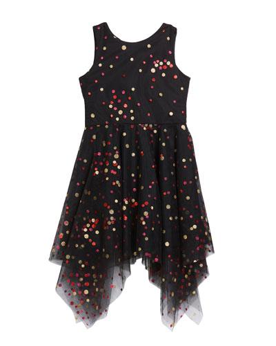 Girl's Dara Metallic Dot Print Mesh Dress  Size 7-16