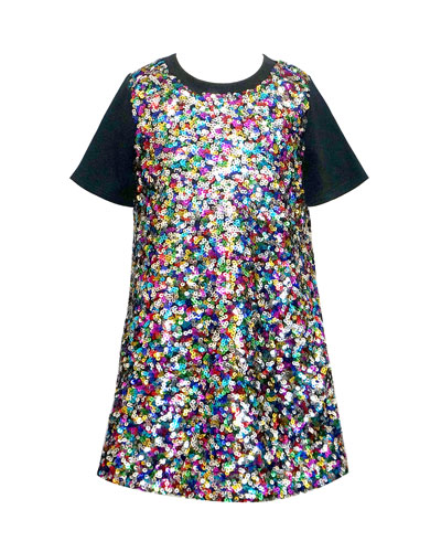 Girl's Multicolored Sequin Short-Sleeve Dress  Size 4-6X  and Matching Items