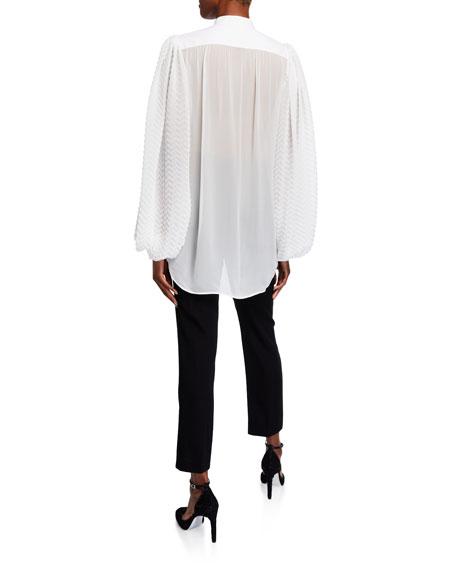 Georgette Chevron-Sleeve Blouse w/ Puffy Sleeves