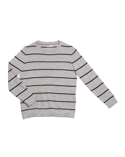 Boy's Striped Fine Gauge Wool/Cashmere Pullover Sweater  Size 4-6 and Matching Items