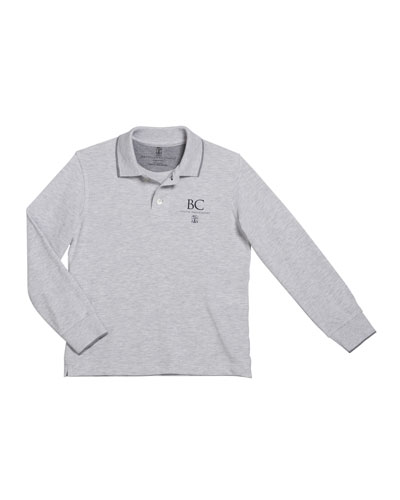 Boy's Long-Sleeve Polo Shirt with Logo Detail  Size 4-6 and Matching Items