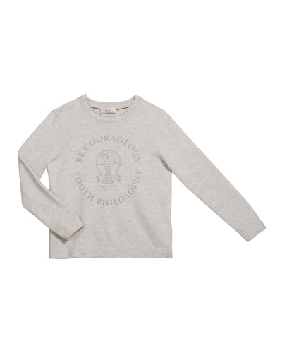 Boy's Be Courageous Graphic Cashmere Sweater  Size 4-6 and Matching Items