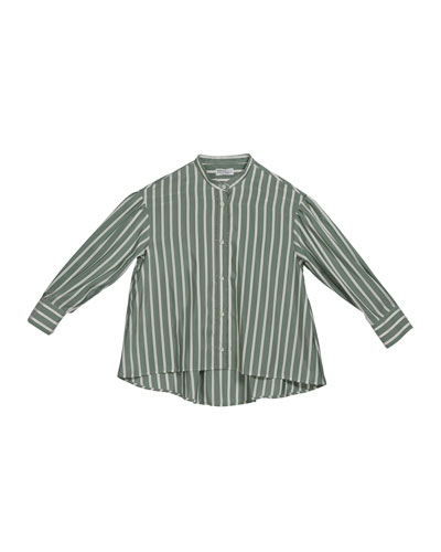 Girl's Striped Button-Down Silk Blouse w/ Monili Placket  Size 4-6 and Matching Items