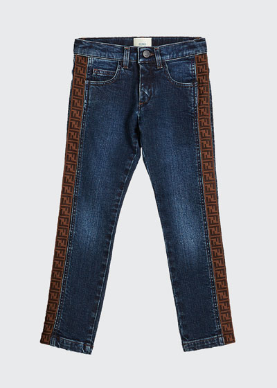 Girl's Denim Jeans w/ Logo Tape Sides  Size 4-6  and Matching Items