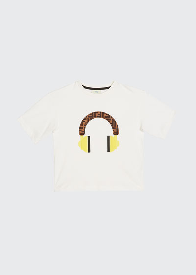 Boy's Short-Sleeve Logo Headphone T-Shirt  Size 4-6  White and Matching Items
