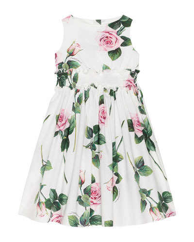 Girl's Tropical Rose Shirred Waist Dress  Size 4-6  and Matching Items