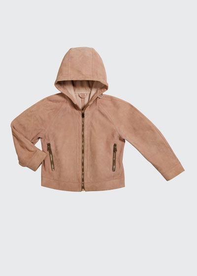 Girl's Hooded Suede Jacket  Size 8-10 and Matching Items