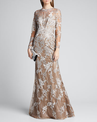 Long-Sleeve Lace Illusion Mermaid Gown