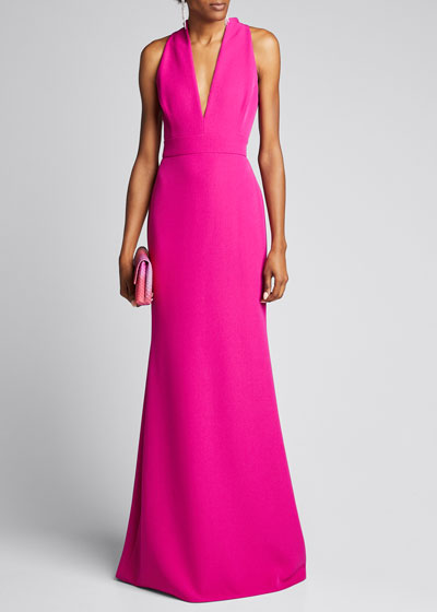 V-Neck Column Gown with Cut-In Shoulders
