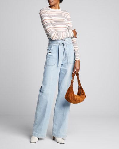 Ali Triple-Waist Wide-Leg Light Wash Jeans