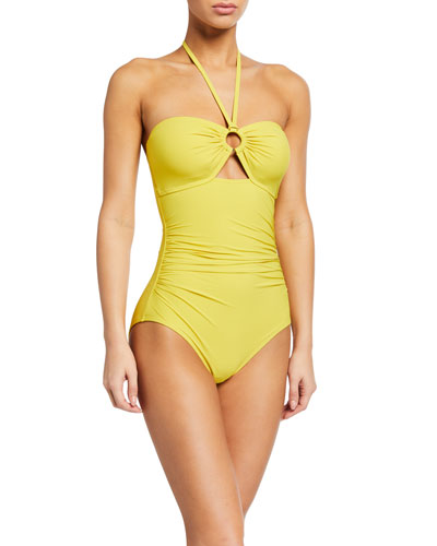 bandeau halter one-piece swimsuit w/ shirring & ring detail