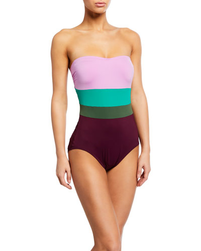 colorblock strapless underwire one-piece