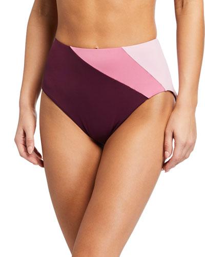 reversible colorblock high-rise bikini bottom
