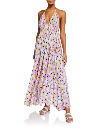 floral halter maxi dress coverup
