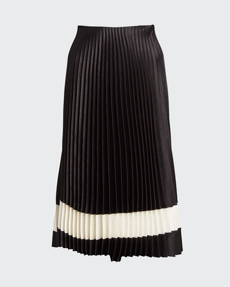 Pleated Crepe Midi Skirt