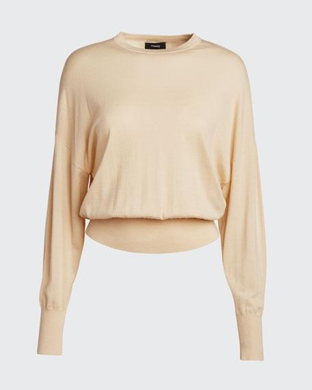 Blouson-Fit Wool Crewneck Sweater