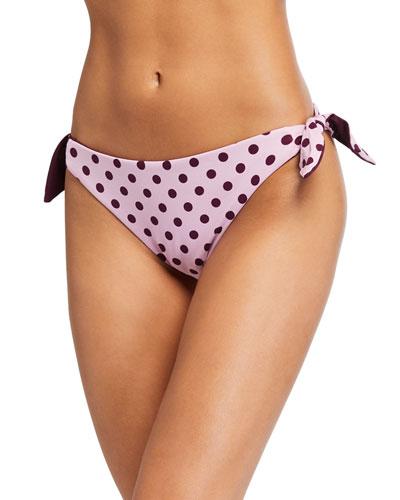 reversible polka dot side-tie bikini bottom