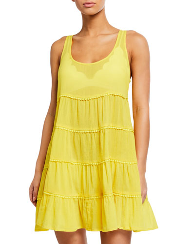 tiered lace-trim coverup dress