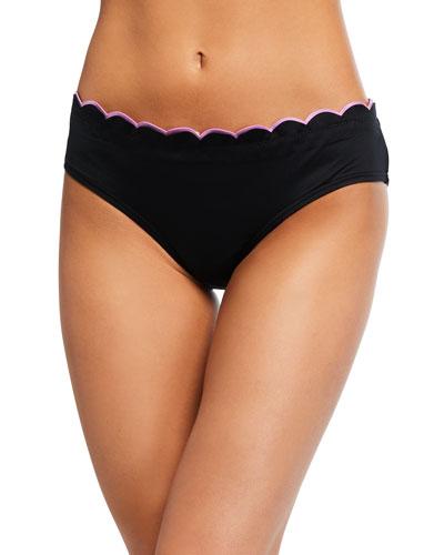 contrast scalloped hipster bikini swim bottom