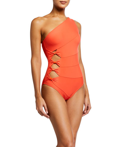 One-Shoulder Paneled Cutout One-Piece Swimsuit
