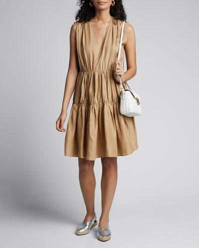 Lema V-Neck Sleeveless Tiered Ramie Voile Dress