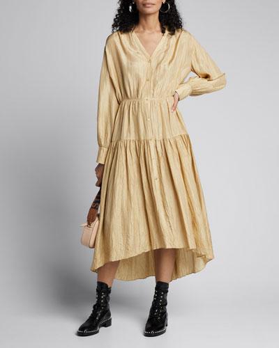 Falco Silk Habutai Long-Sleeve Tiered Midi Dress