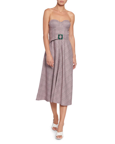 Peggy Belted Check Strapless Dress