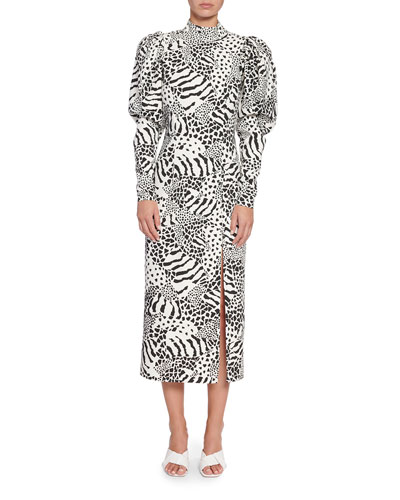 Theresa Puff-Sleeve Animal-Print Midi Dress