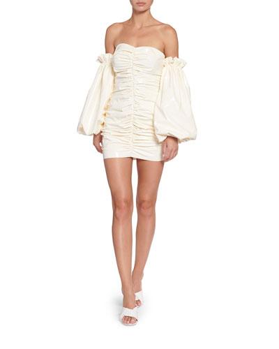 Phoebe Ruched Patent Off-Shoulder Mini Dress