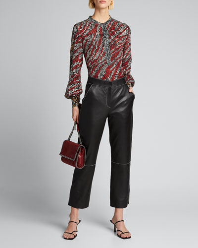 Colette Printed Band-Collar Blouse