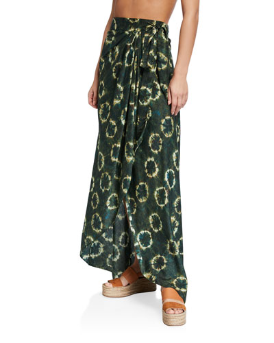 Amira Tie-Dye Wrap Coverup Skirt