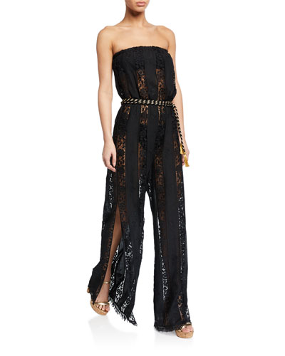 Naima Strapless Lace Belted Jumpsuit