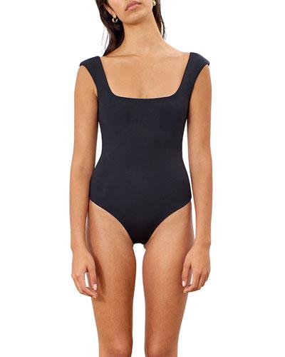 Persephone Square-Neck One-Piece Swimsuit