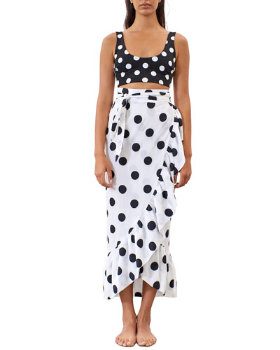 Eavan Polka Dot Ruffle-Hem Skirt