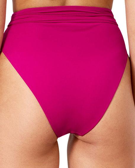 Goldie High-Waist Tie-Front Bikini Swim Bottom
