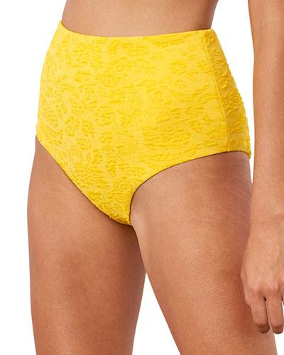 Lydia High Waist Textured Bikini Bottom