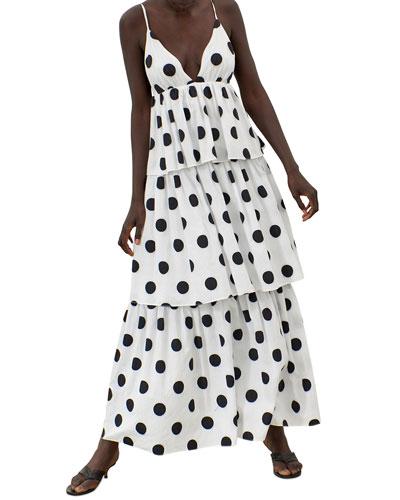 Bari Polka Dot Sleeveless Tiered Ruffle Maxi Dress
