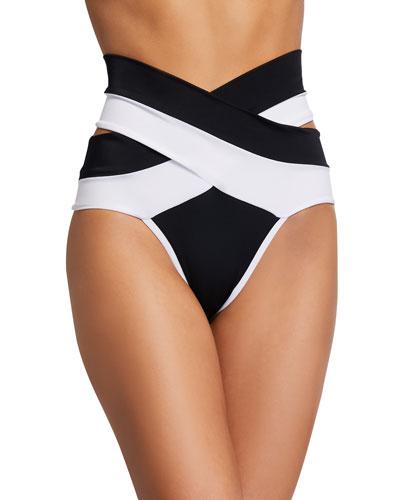Lucette Colorblock High-Waist Double-Band Bikini Bottom