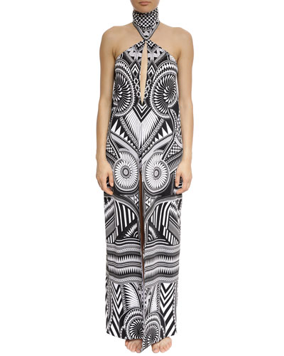 Printed Halter Coverup w/ Shorts