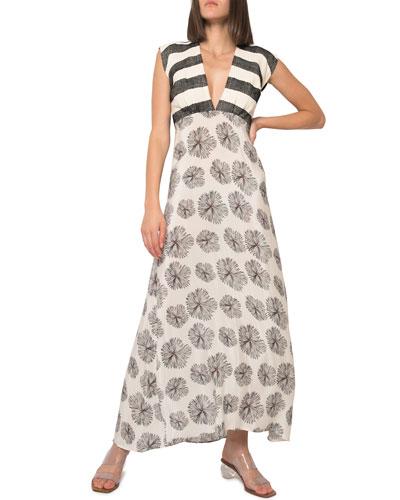 Charmie Mixed Print Cap-Sleeve Maxi Dress