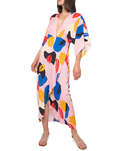 Katherine Abstract High-Low Maxi Dress