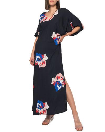 Beatriz Printed Kimono Sleeve Double V-Neck Long Dress