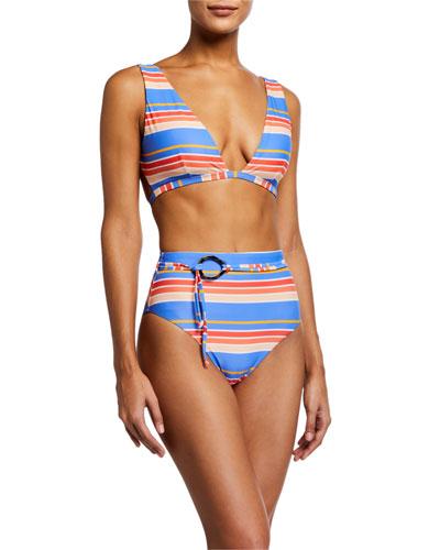 Anguilla Striped Triangle Bikini Top