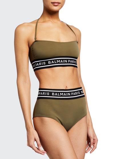 Logo Taped Bandeau Bikini Swim Set