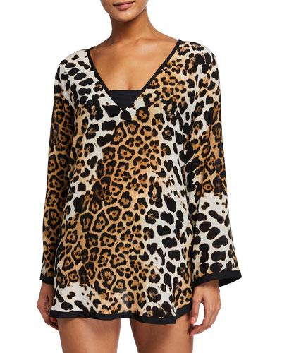 Kawa Pap Leopard-Print Long-Sleeve Coverup