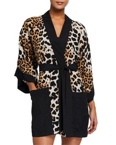 Kawa Pap Leopard-Print Silk Kimono Coverup