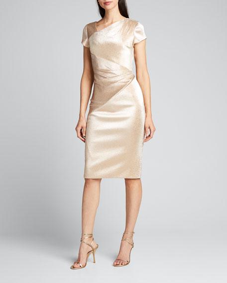 Stretch Metallic Cap-Sleeve Asymmetrical Draped Sheath Dress